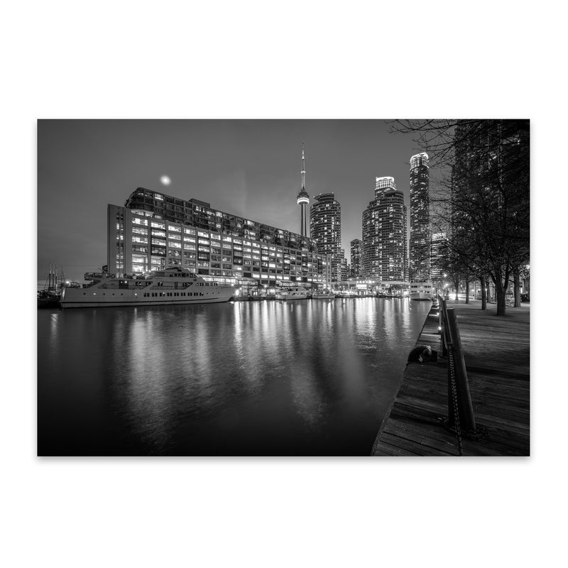 Black & White Toronto Skyline Metal Art Print