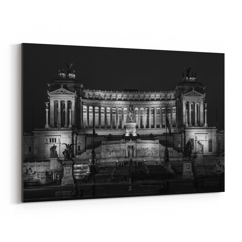 Black & White Rome Italy Urban Canvas Art Print