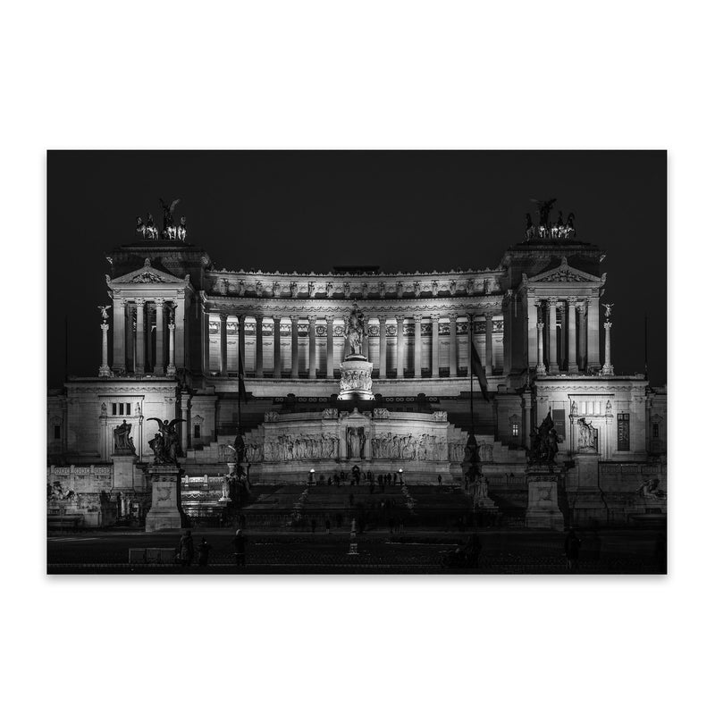 Black & White Rome Italy Urban Metal Art Print