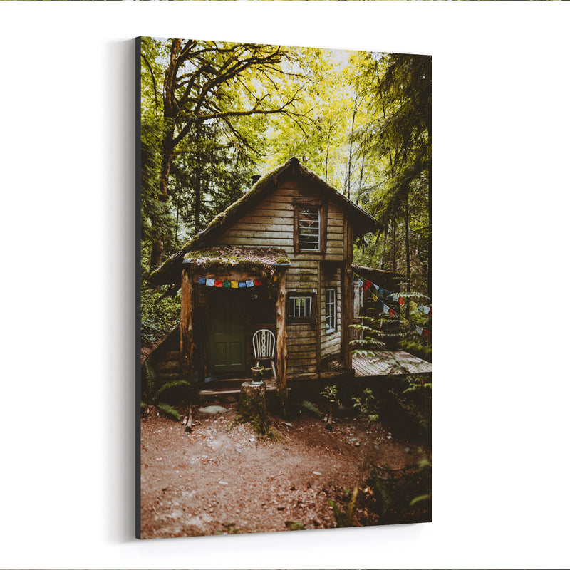 Cabin Woods Forest Washington Canvas Art Print