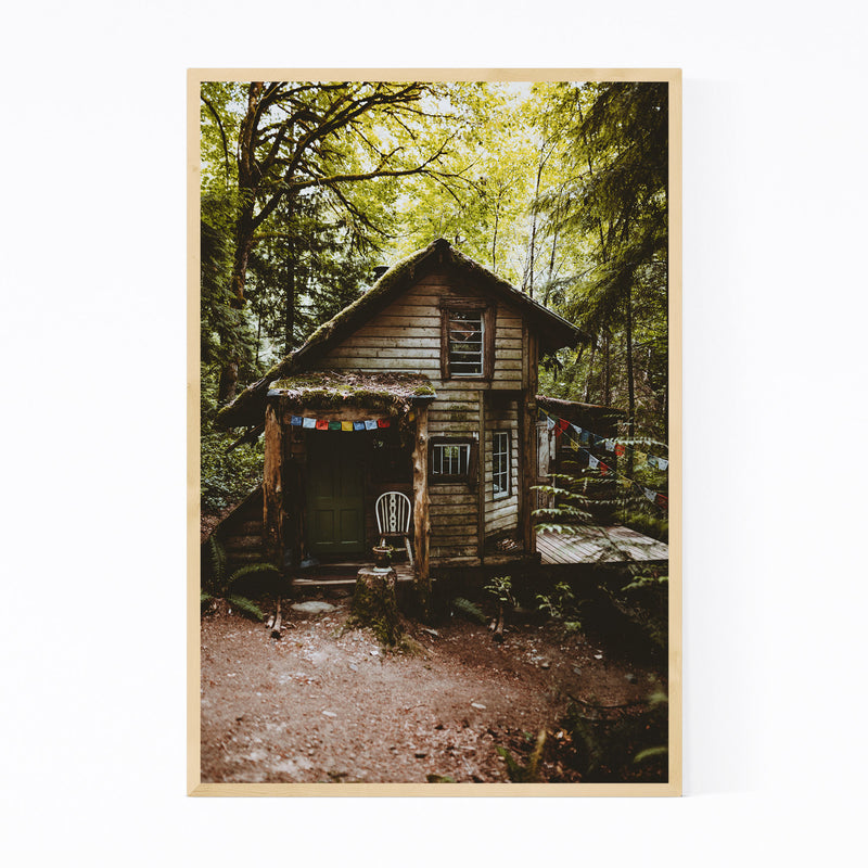 Cabin Woods Forest Washington Framed Art Print