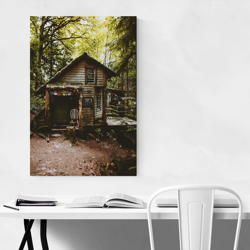 Cabin Woods Forest Washington Metal Art Print