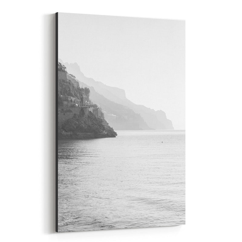 Black & White Amalfi Coast Italy Canvas Art Print