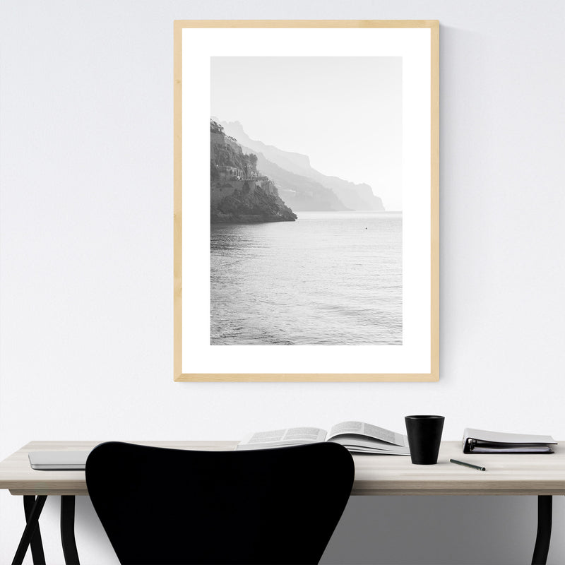 Black & White Amalfi Coast Italy Framed Art Print