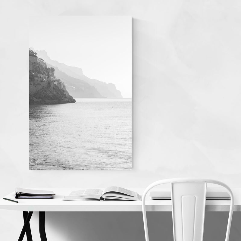 Black & White Amalfi Coast Italy Art Print