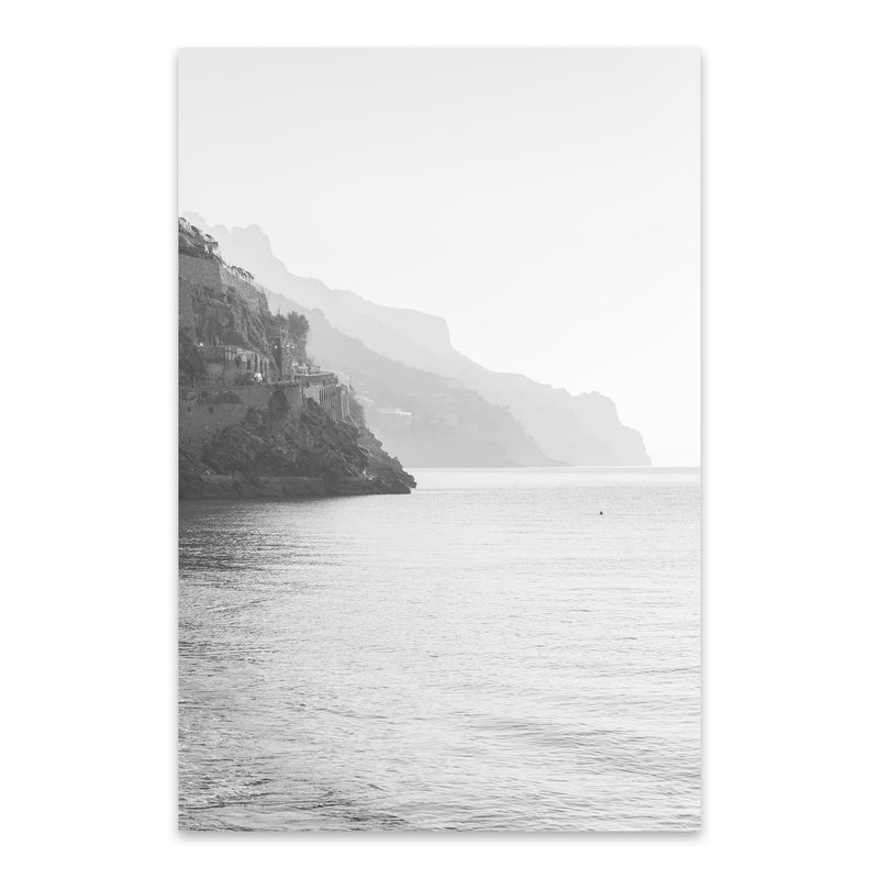 Black & White Amalfi Coast Italy Metal Art Print