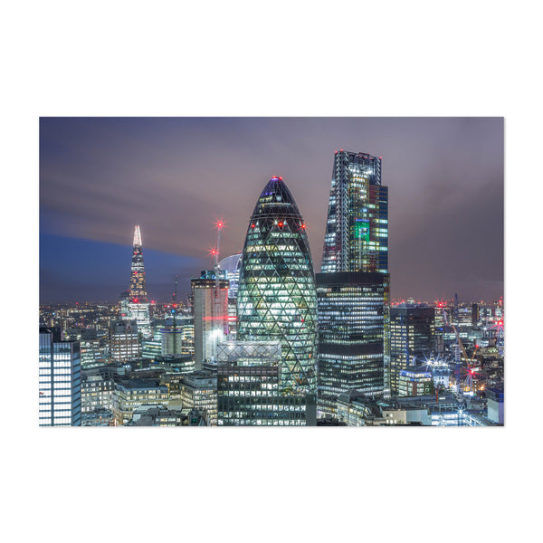 London City UK Skyline Night Art Print