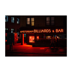 Billiards Bar Neon Sign New York Art Print