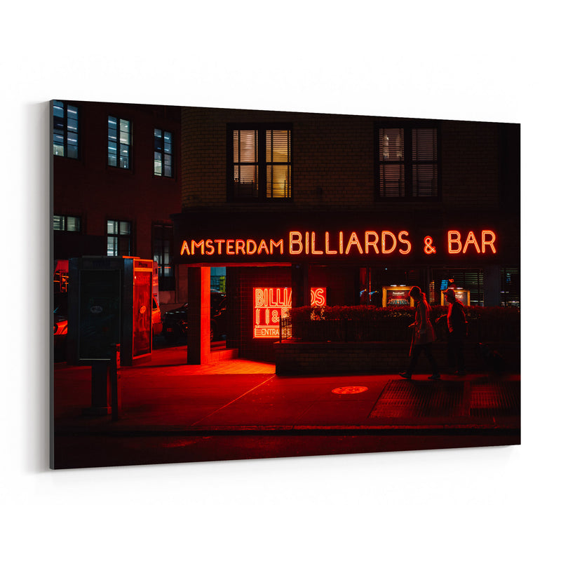 Billiards Bar Neon Sign New York Canvas Art Print
