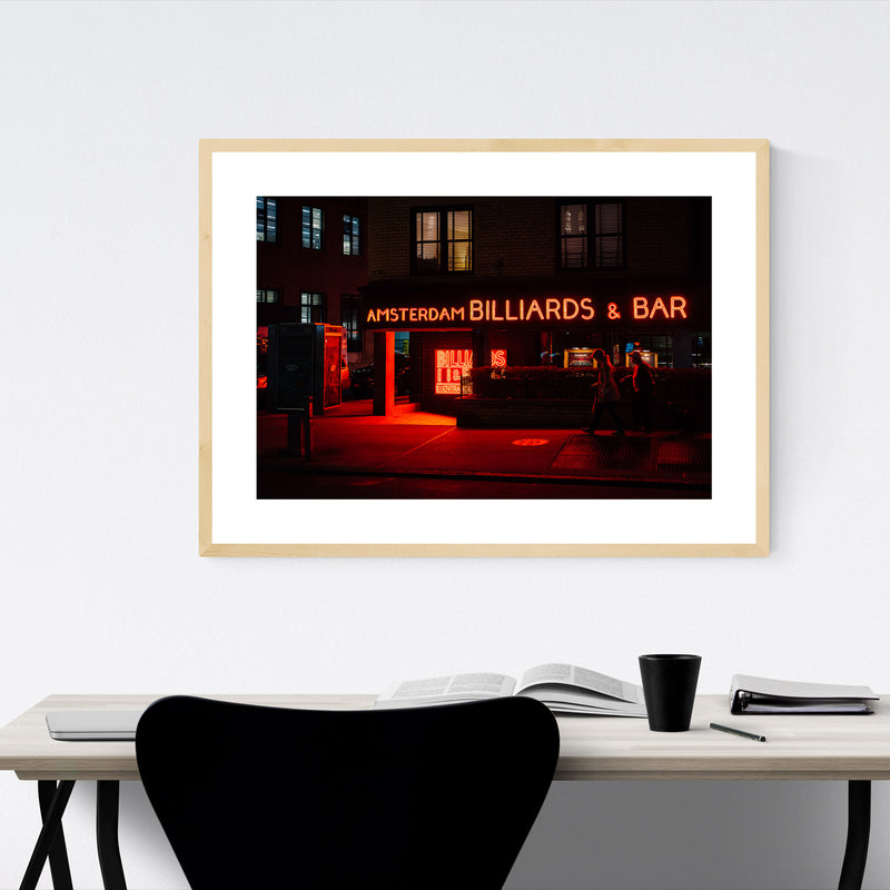 Billiards Bar Neon Sign New York Framed Art Print