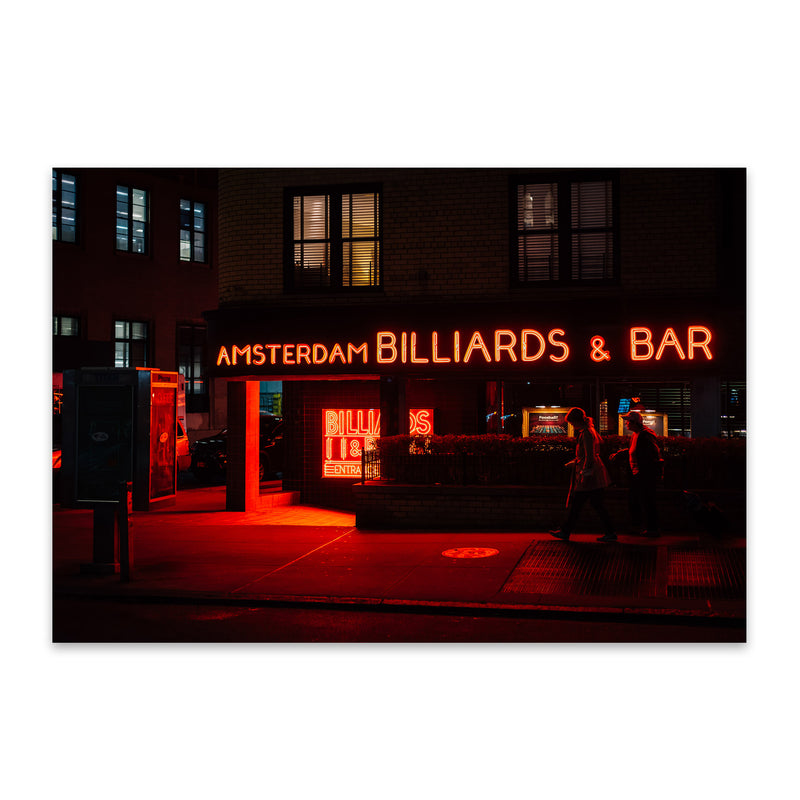Billiards Bar Neon Sign New York Metal Art Print