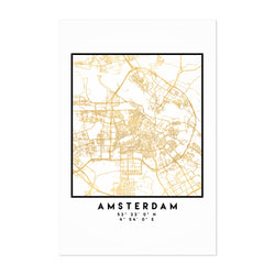 Minimal Amsterdam City Map Art Print