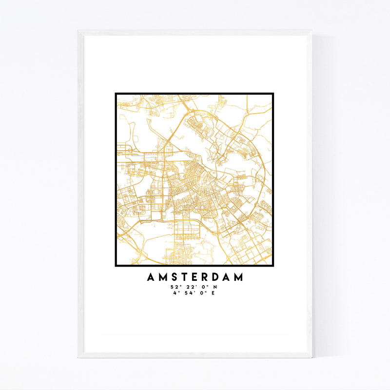 Minimal Amsterdam City Map Framed Art Print