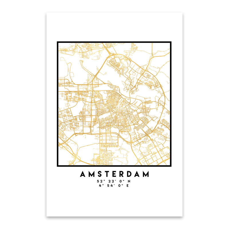 Minimal Amsterdam City Map Metal Art Print