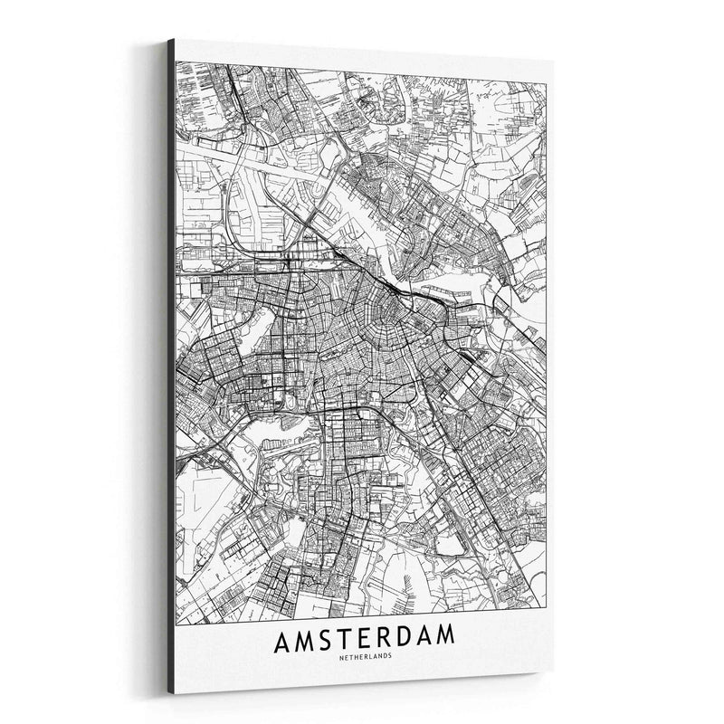 Amsterdam Black & White City Map Canvas Art Print