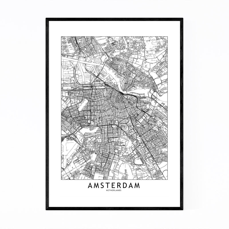 Amsterdam Black & White City Map Framed Art Print