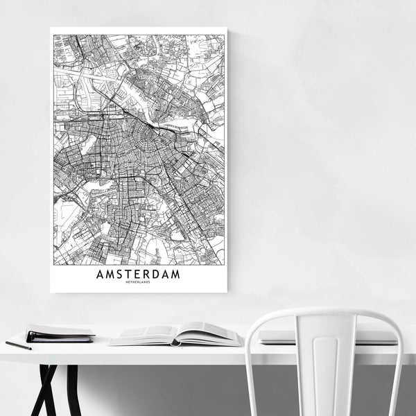 Amsterdam Black & White City Map Art Print