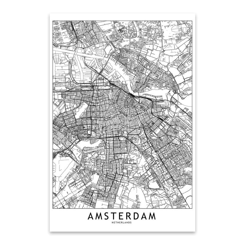 Amsterdam Black & White City Map Metal Art Print