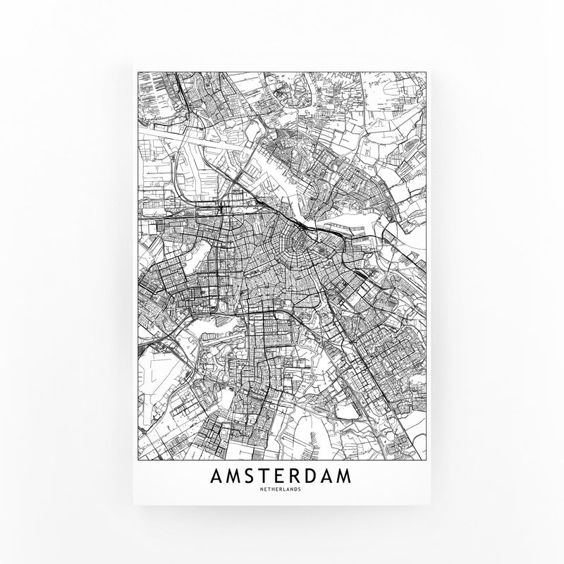 Amsterdam Black & White City Map Mounted Art Print