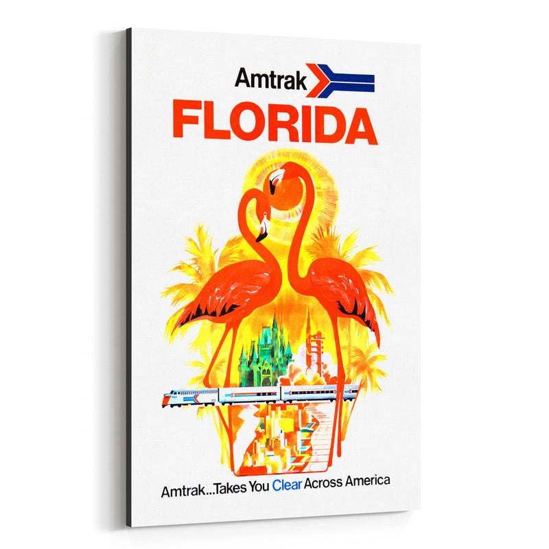 Florida Amtrak Travel Poster  Canvas Art Print