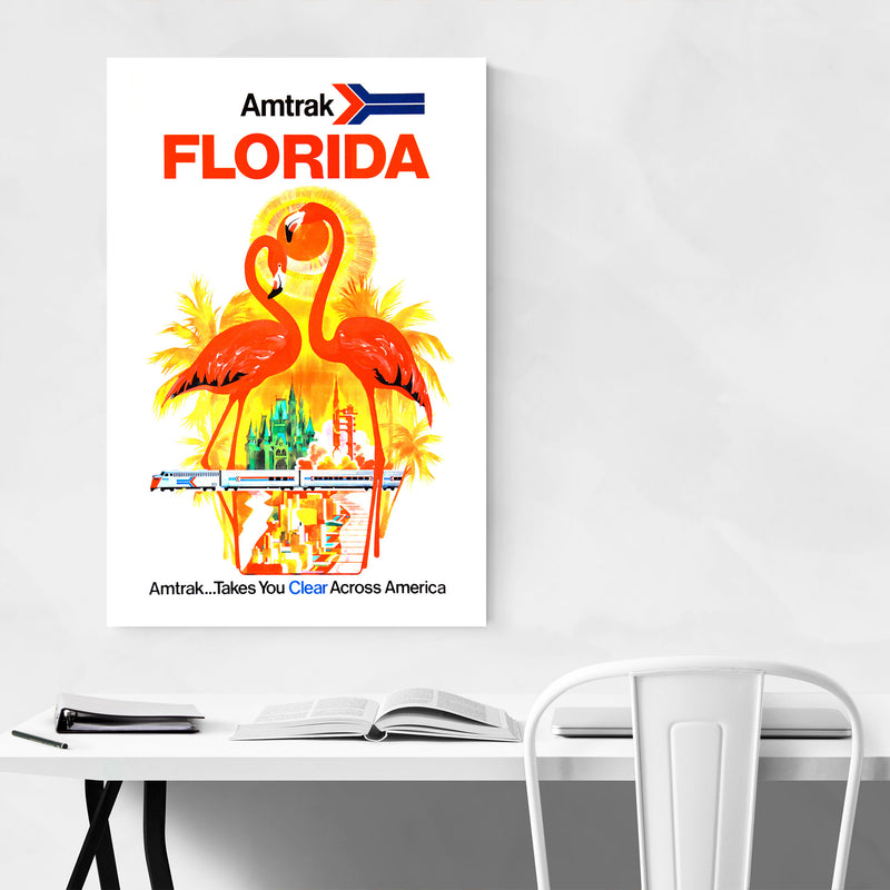 Florida Amtrak Travel Poster  Metal Art Print