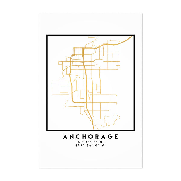 Minimal Anchorage City Map Art Print