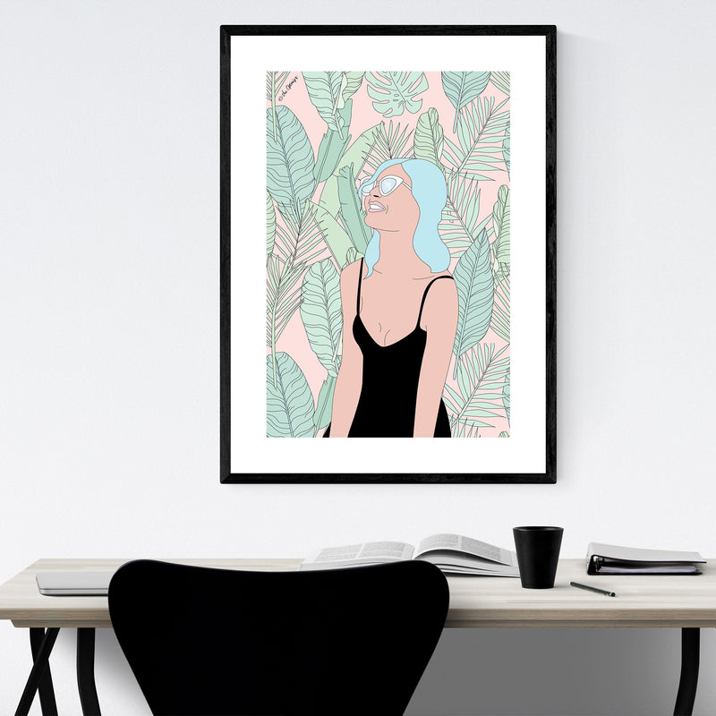 Tropical Beach Girl Feminine Framed Art Print
