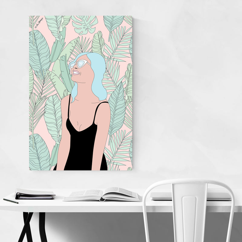 Tropical Beach Girl Feminine Art Print