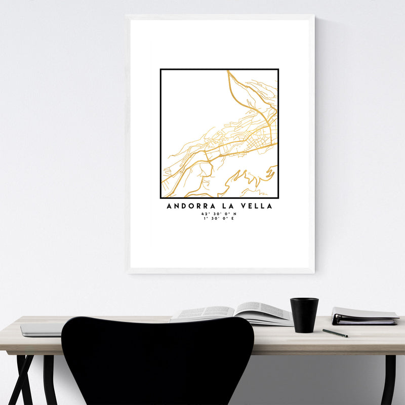 Minimal Andorra La Vella City Map Framed Art Print