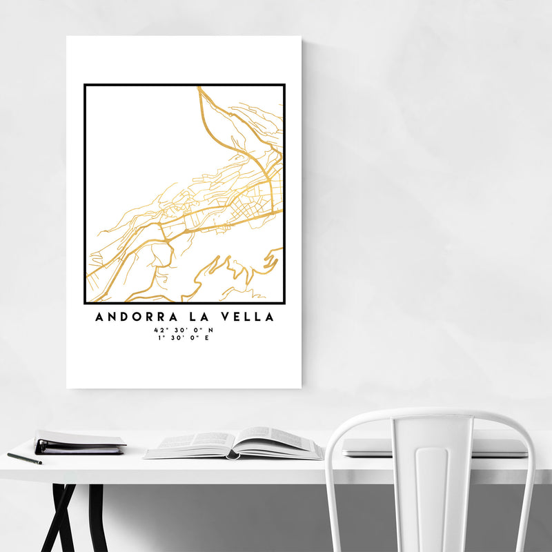 Minimal Andorra La Vella City Map Metal Art Print