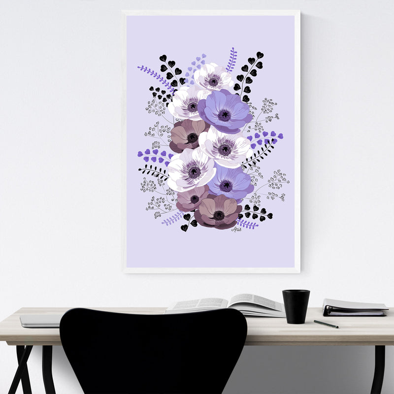 Anemone Digital Flower Pattern Framed Art Print