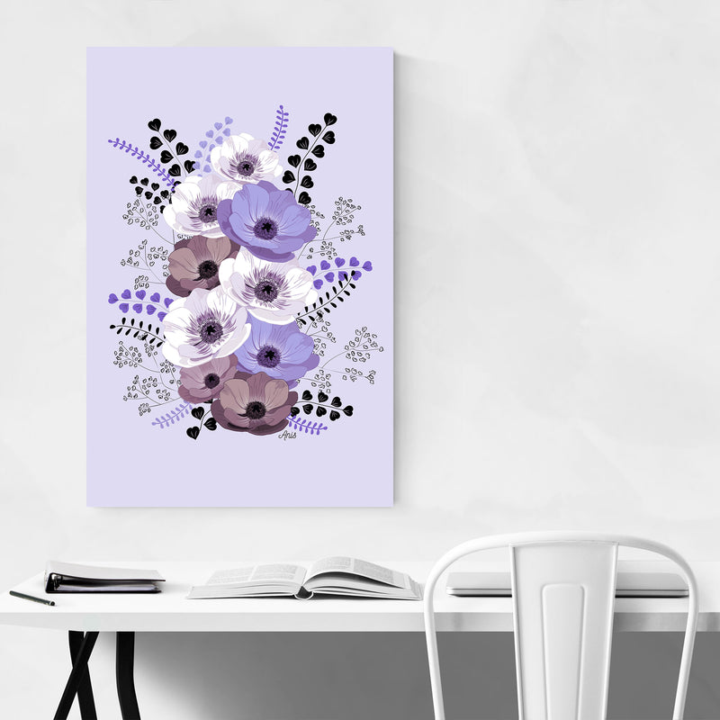 Anemone Digital Flower Pattern Metal Art Print