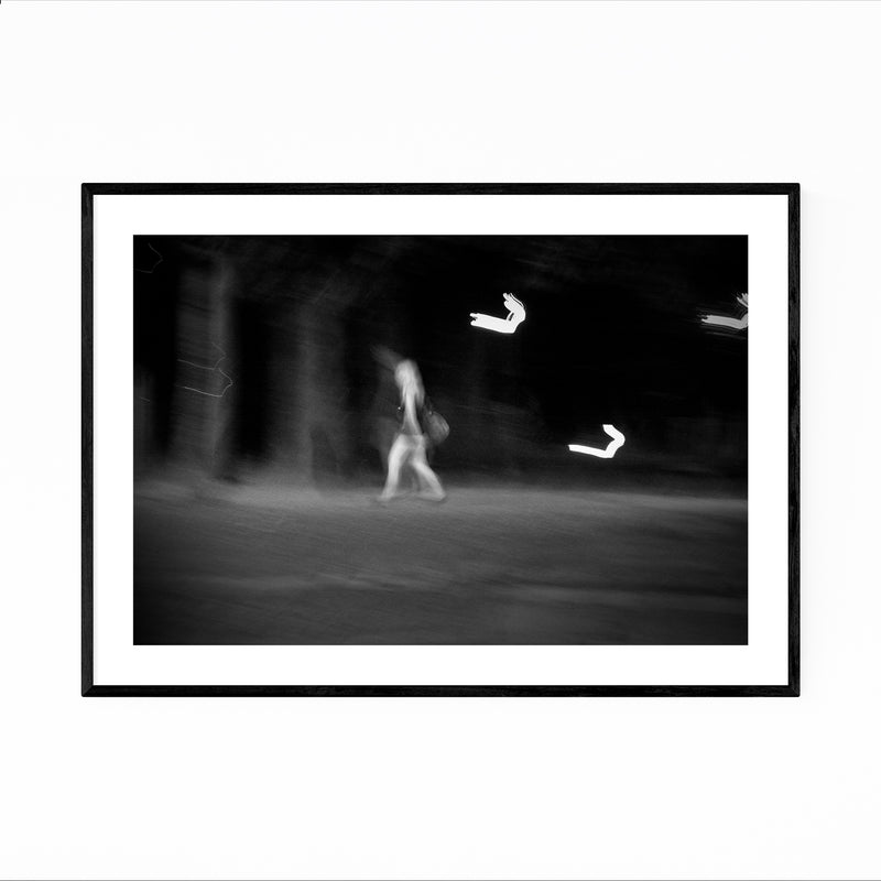 Woman Walking Abstract Blur Framed Art Print