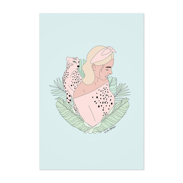 Tropical Feminine Cheetah Animal Art Print