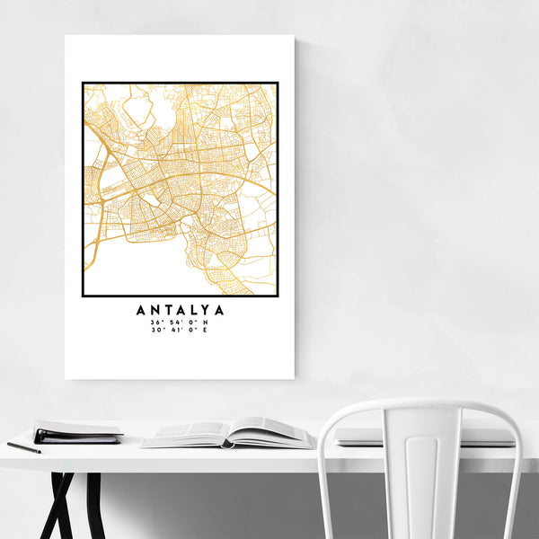 Minimal Antalya City Map Art Print