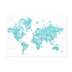 Blue Green Watercolor World Map Art Print