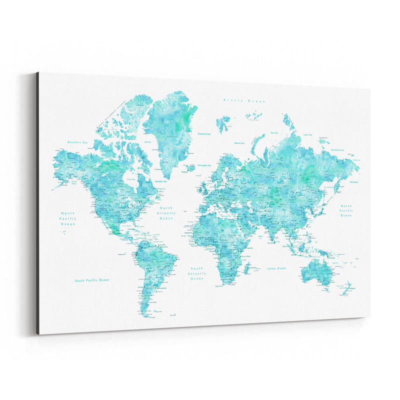 Blue Green Watercolor World Map Canvas Art Print