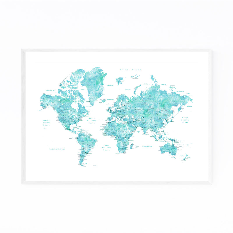 Blue Green Watercolor World Map Framed Art Print