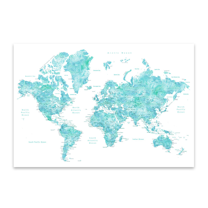 Blue Green Watercolor World Map Metal Art Print
