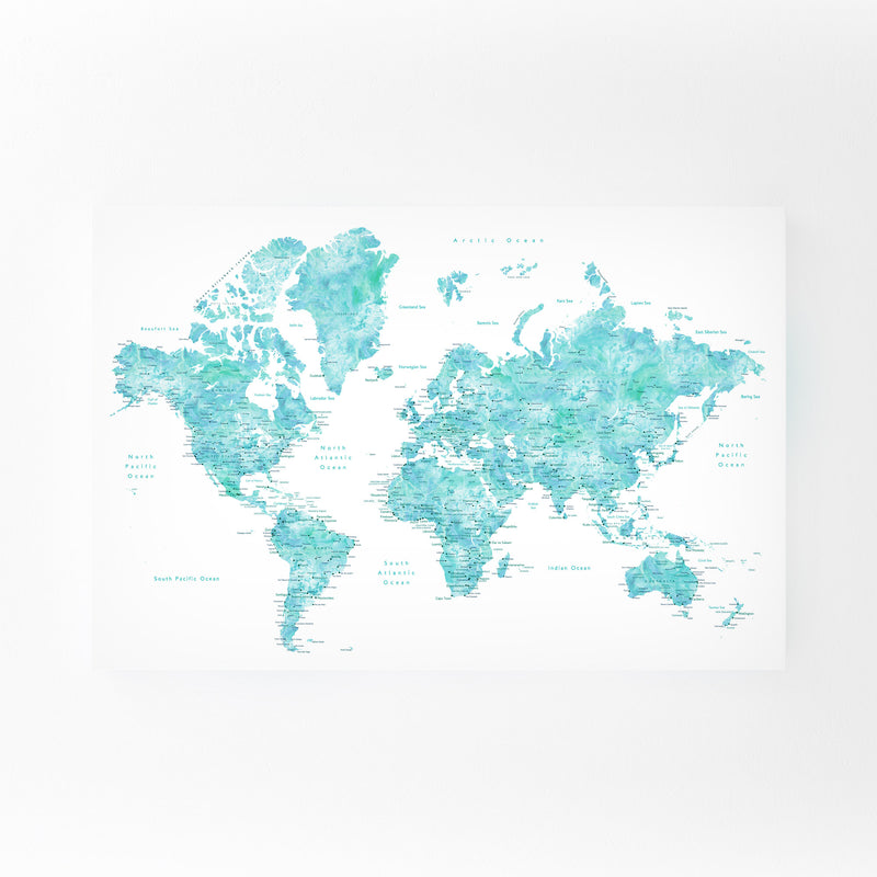Blue Green Watercolor World Map Mounted Art Print