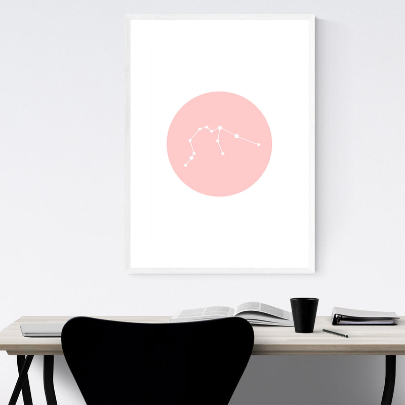 Pink Aquarius Astrology  Framed Art Print