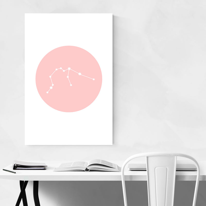 Pink Aquarius Astrology  Metal Art Print