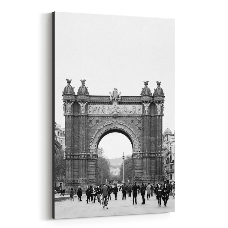 Black & White Barcelona Arch Canvas Art Print