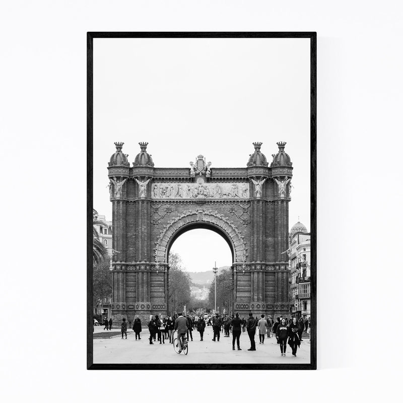 Black & White Barcelona Arch Framed Art Print