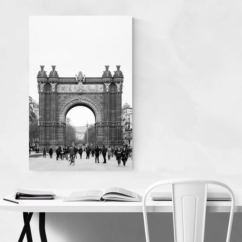 Black & White Barcelona Arch Metal Art Print