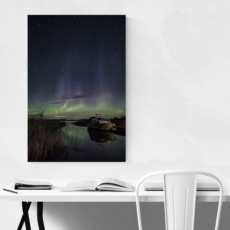 Northern Lights Finland Aurora Metal Art Print