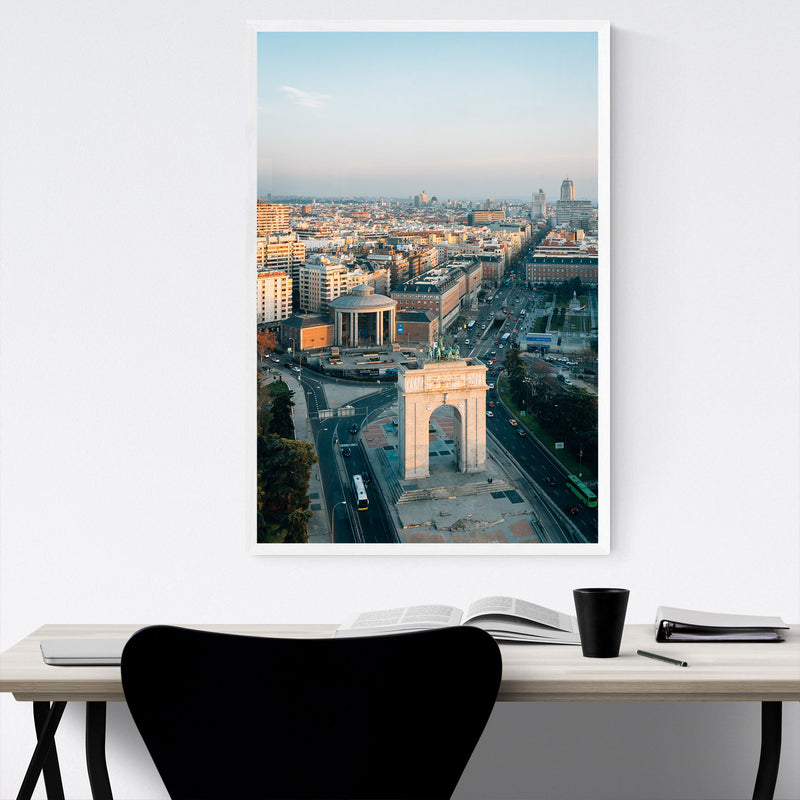 Madrid Spain Cityscape Arch View Framed Art Print