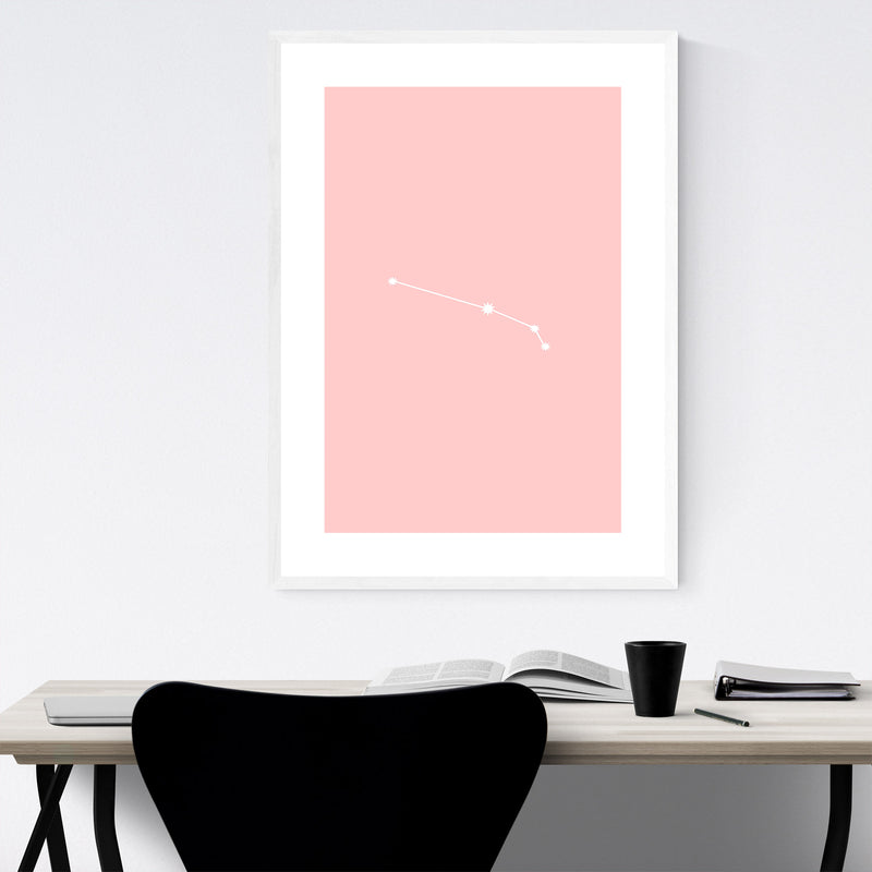 Pink Aries Astrology Zodiac Framed Art Print