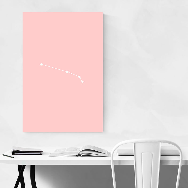 Pink Aries Astrology Zodiac Metal Art Print
