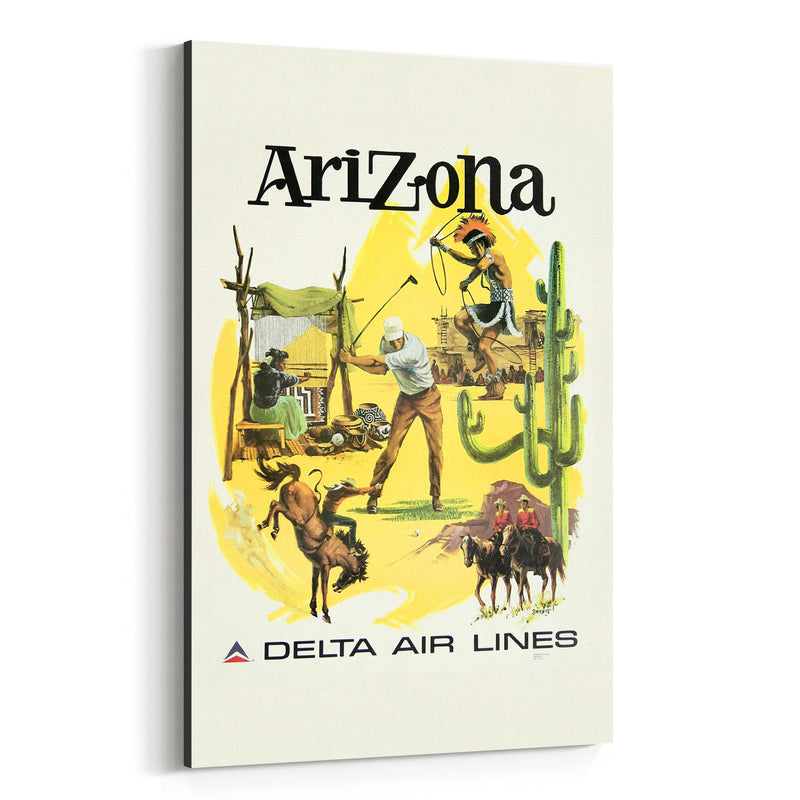 Arizona Vintage Travel Poster  Canvas Art Print